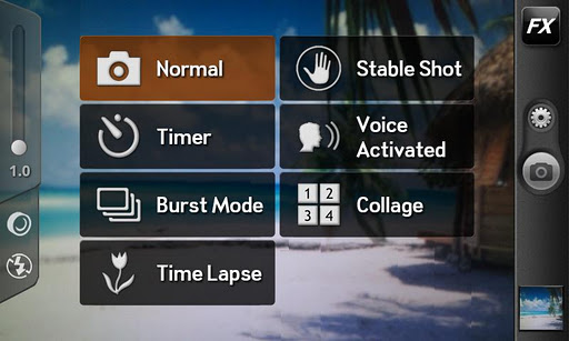 Camera ZOOM FX android app settings