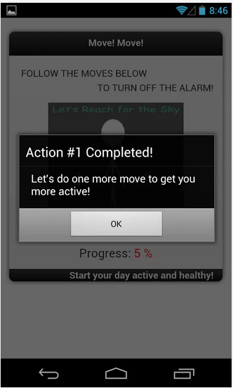 Healthy Alarm android app action complete