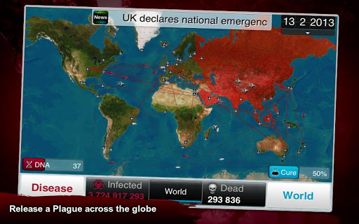 Plague Inc android app globe map